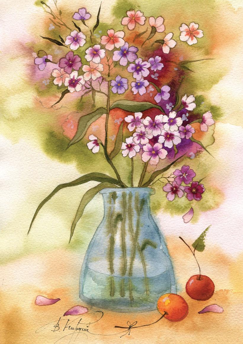 Поздравление на открытке для цветов